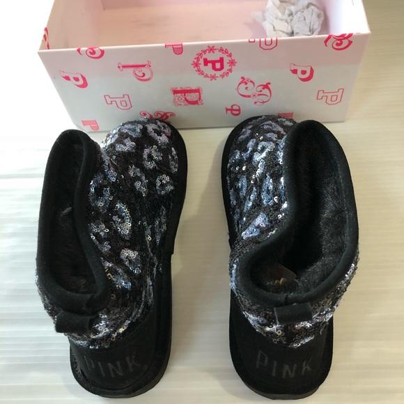c9c43fb57a5 Vs Pink Bling Sequin Fur Lined Mukluks Black Small. Boutique. PINK  Victoria s Secret